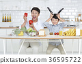 Young father with son preparing dishes, and dish washing together. 349 36595722
