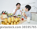 Young father with son preparing dishes, and dish washing together. 352 36595765