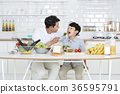 Young father with son preparing dishes, and dish washing together. 361 36595791