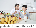 Young father with son preparing dishes, and dish washing together. 343 36595870
