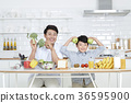 Young father with son preparing dishes, and dish washing together. 357 36595900