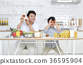 Young father with son preparing dishes, and dish washing together. 359 36595904