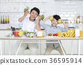 Young father with son preparing dishes, and dish washing together. 344 36595914