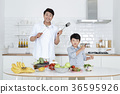 Young father with son preparing dishes, and dish washing together. 350 36595926