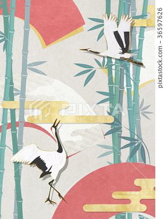 folding fan, bamboo, crane 36597626