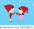 boy holding gift box,girl holding hear 36598611