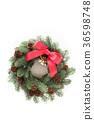 전나무의 수제 임대 (세로 대각선 빨간 리본 및 벨과 솔방울) 36598748