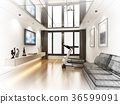 sketch design of living room ,3d rendering 36599091