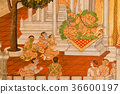 traditional Thai style painting art on temple wal 36600197