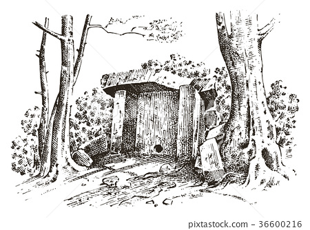 ancient cave. prehistoric house of wood or stone 36600216