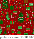 New Year Red Tile Pattern. Merry Christmas Flat 36600302