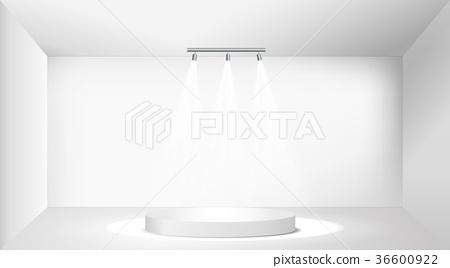 White round empty podium. Pedestal. Scene. Vector 36600922