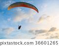Paraglider flies paraglider in the sky.  36601265