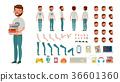 Geek Man Vector. Animated Character Creation Set 36601360