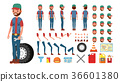 Truck Driver Vector. Animated Trucker Character 36601380