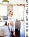Pregnant woman in white clothes 36603110