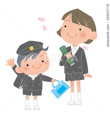 小學男孩和女孩畢業。 36603778