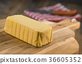 Plate of butter wrapping ready to eat 36605352