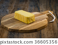 Plate of butter wrapping ready to eat 36605356