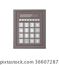 Realistic calculator on a white background. 36607287