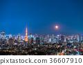 도시 풍경, 달, 야경 36607910