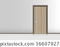 Realistic single door and interiors decorative 36607927