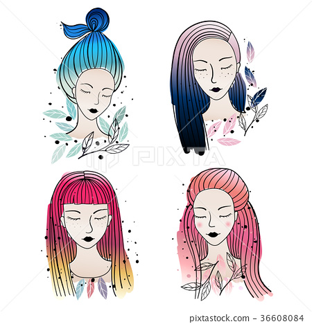 Girls Different Hair Colors And Hairstyle Stock Illustration 36608084 Pixta