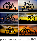 Bicycle silhouette background collage 36608821