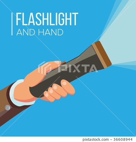 Hand Holding Flashlight Vector. Business Search 36608944