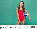 sports woman with volleyball 36609008