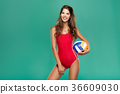sports woman with volleyball 36609030