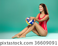 sports woman with volleyball 36609091