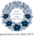 Christmas wreath with fir branch,berry and flowers 36611875