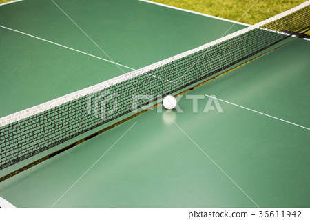 Table tennis, ping-pong table and the white ball 36611942