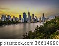 Sunset skyline of Brisbane city and Brisbane river 36614990