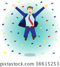 Happy Jumping Businessman Among Colorful Papers 36615253