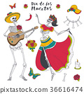 Male and female skeleton play the guitar and dance 36616474