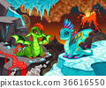 Baby dragons in a landscape with fire and ice 36616550
