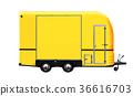 3D illustration of yellow food truck 36616703
