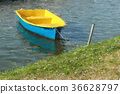 Colorful Paddle Boat on Water, Painting Style. 36628797
