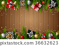 Christmas wooden background 36632623