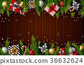 Christmas wooden background 36632624