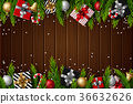 Christmas wooden background 36632626
