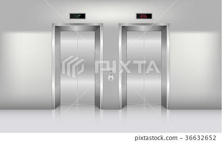 Realistic elevator in office building., Interior  36632652