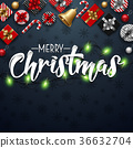 Christmas typographical blue background 36632704