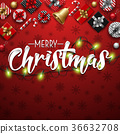 Christmas typographical red background 36632708