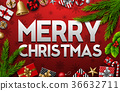 Christmas red background with fir tree 36632711