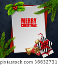Christmas card with fir tree branches 36632731