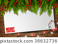 Christmas card with empty paper and fir tree 36632736