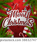Christmas red background with fir branches 36632747